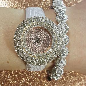 Rose Gold White Watch & Shamballa Bracelet Set